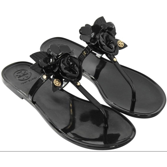 06c3dce4b3f74 New Tory Burch Blossom Jelly Sandals Black 9
